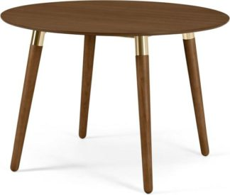 An Image of Edelweiss Round 4 Seat Dining Table, Walnut and Brass