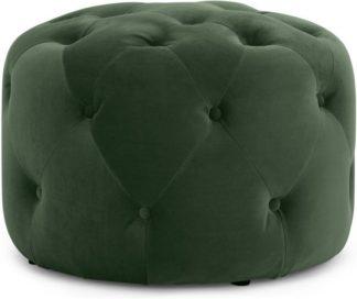 An Image of Hampton Small Round Pouffe, Elm Green Velvet