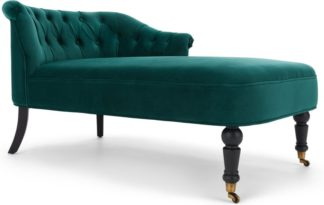 An Image of Bouji Right Hand Facing Chaise Longue, Seafoam Blue Velvet