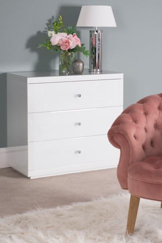 An Image of White Glass Three Drawer Chest