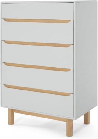 An Image of Jayden Tall Chest of Drawers, Grey & Oak