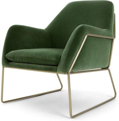 An Image of Frame Accent Armchair, Grass Cotton Velvet