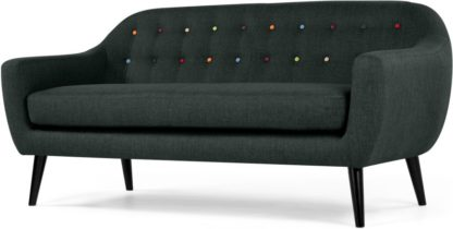 An Image of Ritchie 3 Seater Sofa, Anthracite Grey with Rainbow Buttons