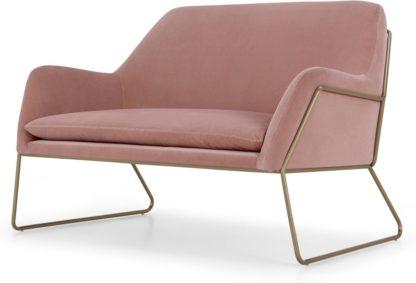 An Image of Frame Loveseat, Blush Pink Cotton Velvet & Brass