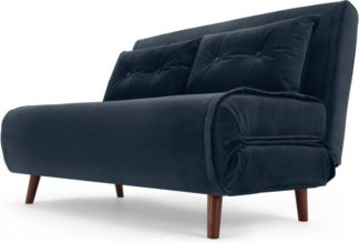 An Image of Haru Small Sofa Bed, Sapphire Blue Velvet