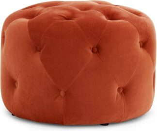 An Image of Hampton Small Round Pouffe, Flame Orange Velvet