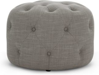 An Image of Hampton Small Round Pouffe, Linen Mix Grey