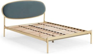 An Image of Asare Double Bed, Brass & Marine Green Velvet