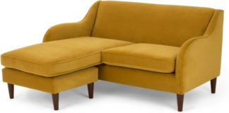 An Image of Helena Chaise End Corner Sofa, Plush Turmeric Velvet