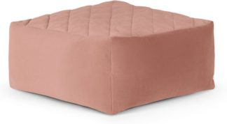 An Image of Loa Quilted Floor Cushion, Blush Pink Velvet