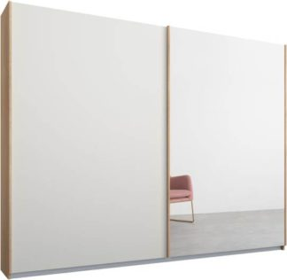 An Image of Malix 2 door 225cm Sliding Wardrobe, Oak frame,Matt White & Mirror doors, Standard Interior