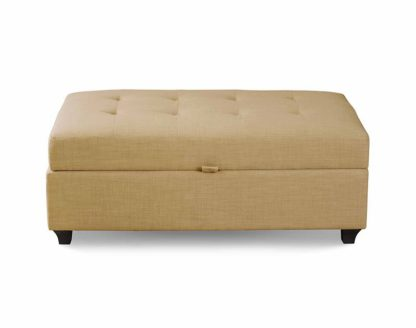 An Image of Leon Upholstered Ottoman - Latte
