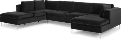 An Image of Monterosso Left Hand Facing Corner Sofa, Midnight Grey Velvet