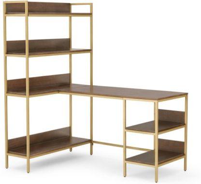 An Image of Lomond Adjustable Corner Desk with Shelves, Dark Mango Wood and Brass