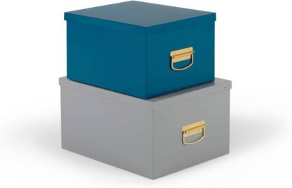 An Image of Holmes of 2 Metal Storage Boxes, Teal and Grey