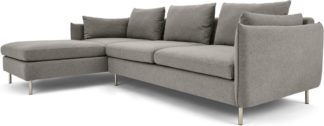 An Image of Vento 3 Seater Left Hand Facing Chaise End Corner Sofa, Manhattan Grey