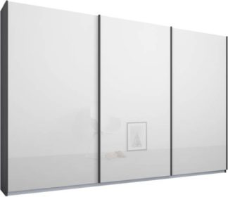 An Image of Malix 3 door 270cm Sliding Wardrobe, Graphite Grey frame,White Glass doors, Standard Interior