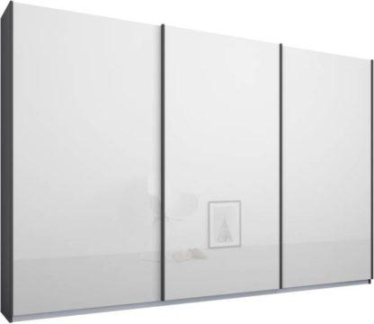 An Image of Malix 3 door 270cm Sliding Wardrobe, Graphite Grey frame,White Glass doors, Standard Interior