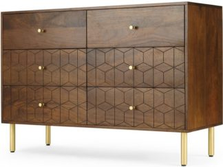 An Image of Hedra Wide Chest of Drawers, Mango wood and Brass