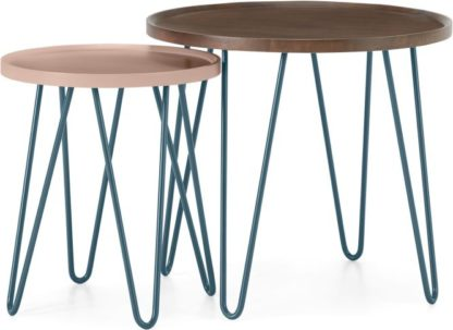 An Image of Dotty Nesting Side table, Dark Stain and Pink