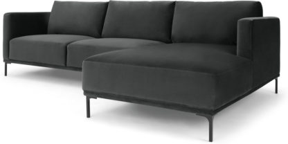 An Image of Milo Right Hand Facing Chaise End Corner Sofa, Midnight Grey Velvet