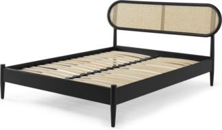 An Image of Reema Double Bed, Black Stain Oak & Cane