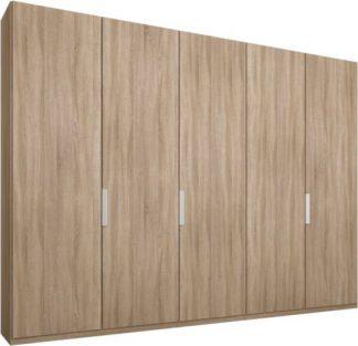 An Image of Caren 5 door 250cm Hinged Wardrobe, Oak Frame, Oak Doors, Premium Interior
