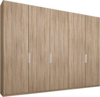 An Image of Caren 5 door 250cm Hinged Wardrobe, Oak Frame, Oak Doors, Standard Interior