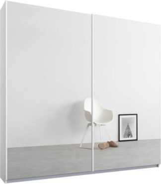 An Image of Malix 2 door 181cm Sliding Wardrobe, White frame,Mirror doors, Standard Interior