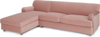 An Image of Orson Left Hand Facing Chaise End Sofa Bed, Vintage Pink Velvet