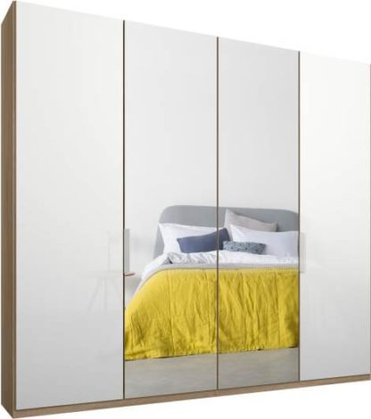 An Image of Caren 4 door 200cm Hinged Wardrobe, Oak Frame, White Glass & Mirror Doors, Classic Interior