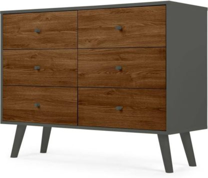 An Image of Larsen Wide Chest Of Drawers, Walnut Effect & Grey