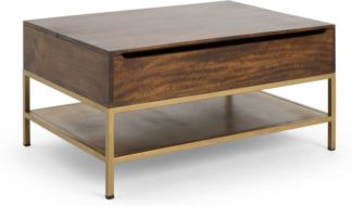 An Image of Lomond Lift Top Coffee Table with Storage, Mango wood and Brass