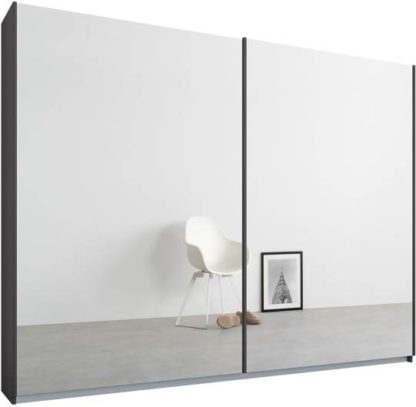 An Image of Malix 2 door 225cm Sliding Wardrobe, Graphite Grey frame,Mirror doors, Standard Interior