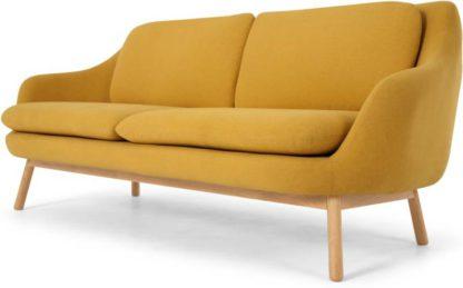 An Image of Oslo 3 Seater Sofa, Yolk Yellow with Oak Legs