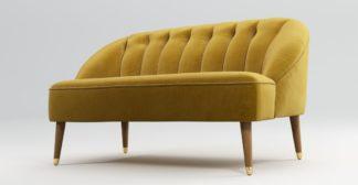 An Image of Custom MADE Margot 2 Seater Sofa, Antique Gold Velvet with Light Wood Brass Leg