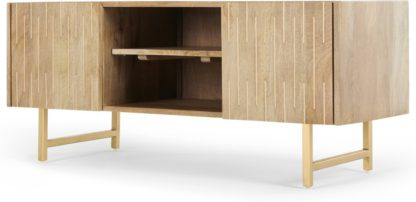 An Image of Aphra TV Stand, Light Mango Wood and Brass Inlay