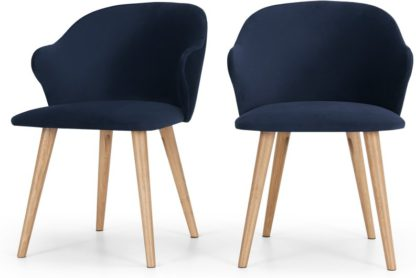 An Image of Set of 2 Sigrid Dining Chairs, Royal Blue Velvet and Oak