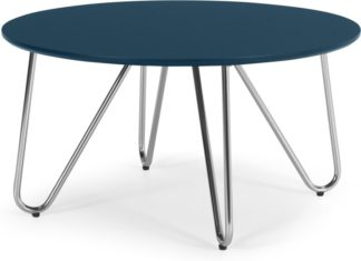 An Image of Eibar Coffee Table, Blue and Chrome