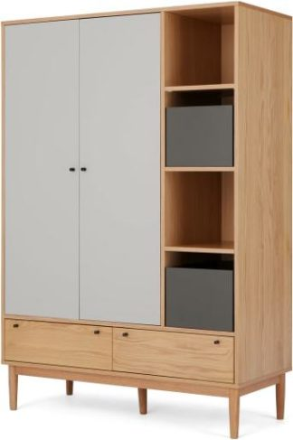 An Image of Campton Triple Wardrobe, Oak & Grey