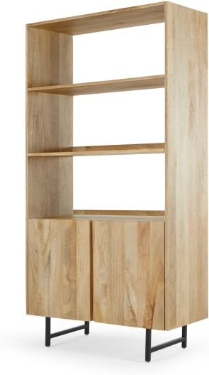 An Image of Aphra Bookcase with cupboard, Light Mango Wood and Black