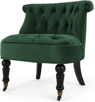 An Image of Bouji Accent Chair, Pine Green Velvet
