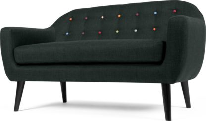 An Image of Ritchie 2 Seater Sofa, Anthracite Grey with Rainbow Buttons