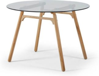 An Image of Philly 4 Seat Dining Table, Oak and Glass