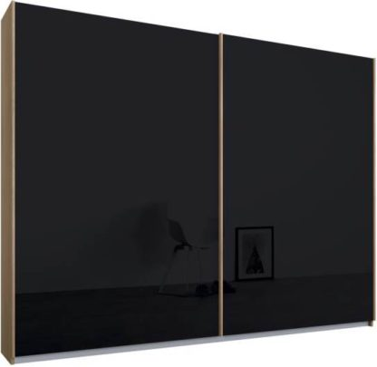 An Image of Malix 2 door 225cm Sliding Wardrobe, Oak frame,Basalt Grey Glass doors , Premium Interior