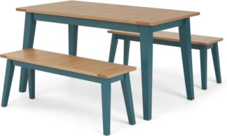 An Image of Ralph 4 Seat Compact Dining bench set, Oak and Teal