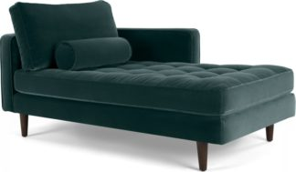 An Image of Scott Right Hand Facing Chaise Longue, Cotton Velvet Petrol