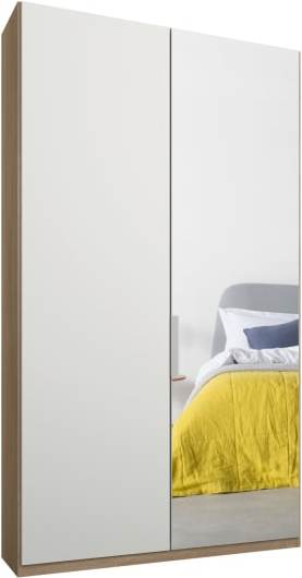An Image of Caren 2 door 100cm Hinged Wardrobe, Oak Frame, Matt White & Mirror Doors, Standard Interior