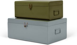An Image of Daven Set of 2 Metal Storage Box Trunks, Green & Grey