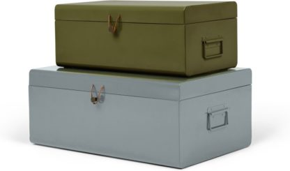 An Image of Daven Set of 2 Metal Storage Box Trunks, Green & Grey